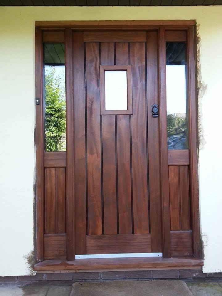 Sapele Front Door with Side Lights