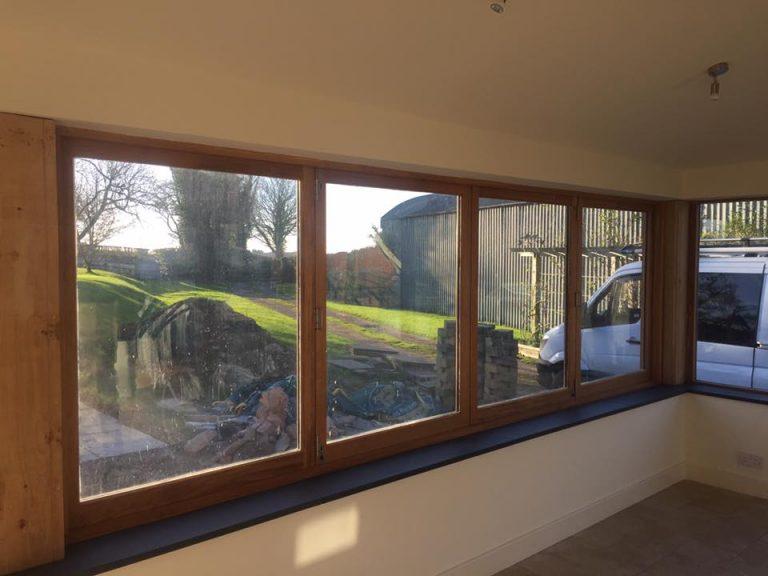 European Oak Bi Folding Windows Closed