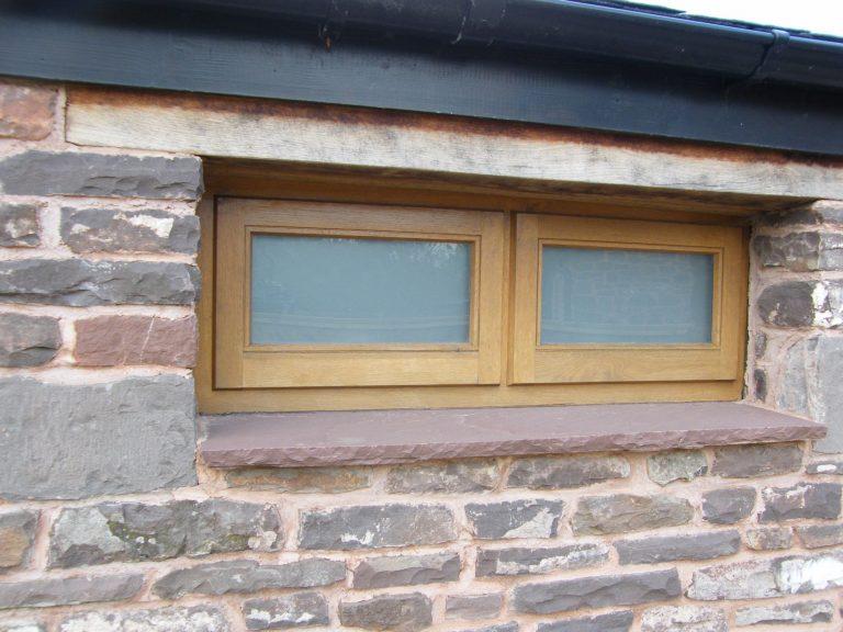 Storm Proof Privacy Glazed Windows in European Oak