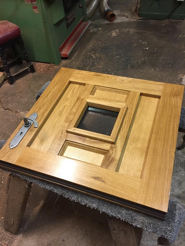 European Oak Stable Door Top with Gothic Pewter Hardware